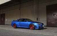 Blue Nissan Skyline side view wallpaper 1920x1080 jpg