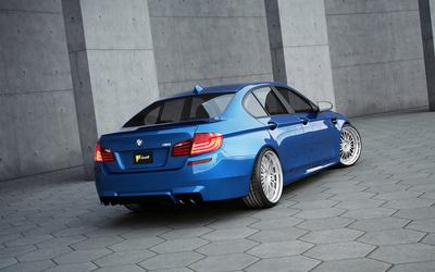 Blue Schmidt BMW M5 back side view wallpaper