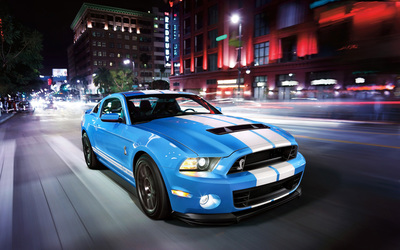 Blue Shelby Mustang GT500KR front side view wallpaper