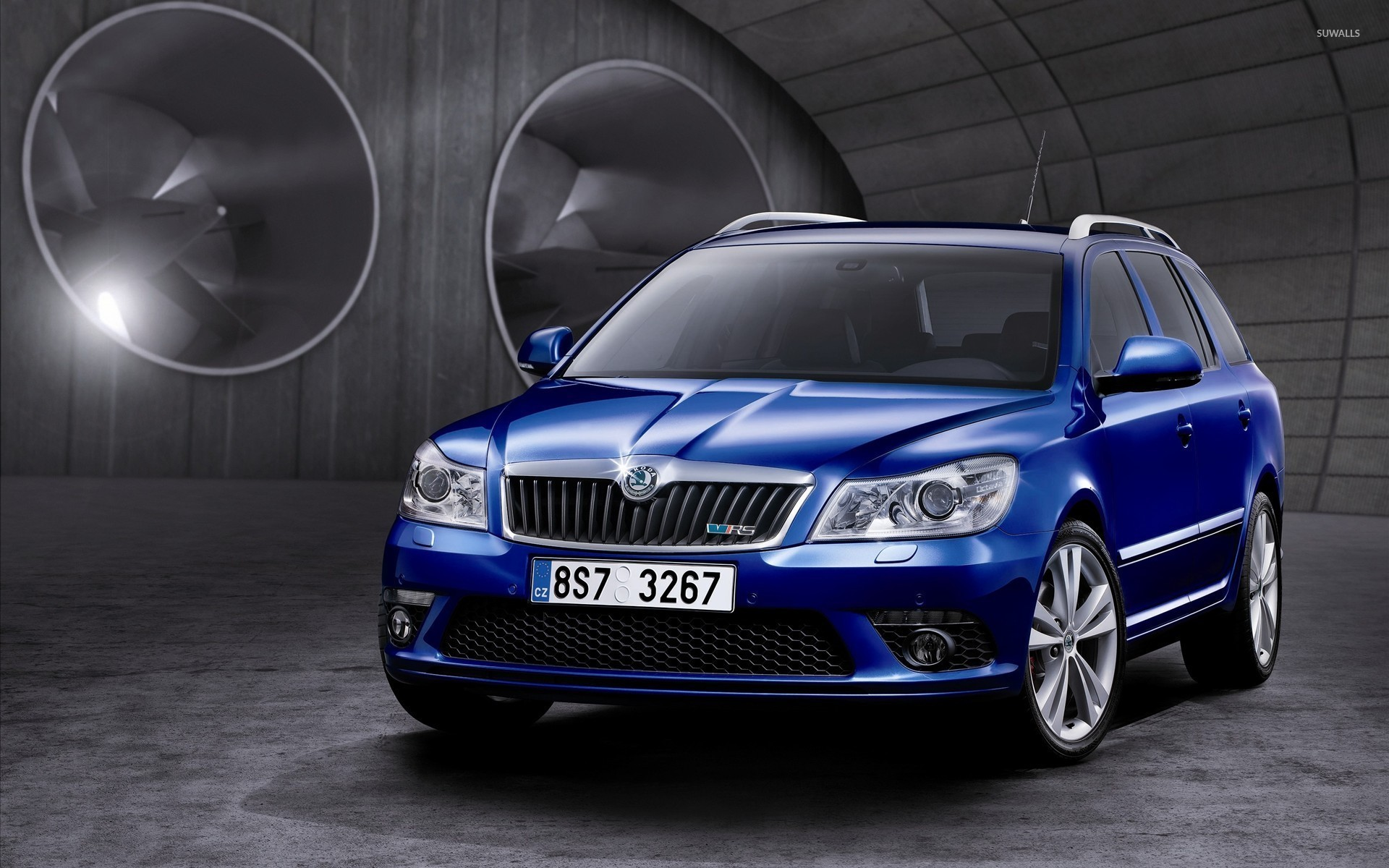 Blue Skoda Octavia Vrs Front Side View Wallpaper Car