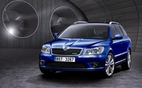 Blue Skoda Octavia vRS front side view wallpaper 1920x1200 jpg