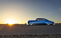 Blue sparkly Chevrolet lowrider side view wallpaper 1920x1200 jpg