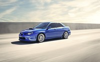 Blue Subaru Impreza WRX STI on the road wallpaper 1920x1080 jpg
