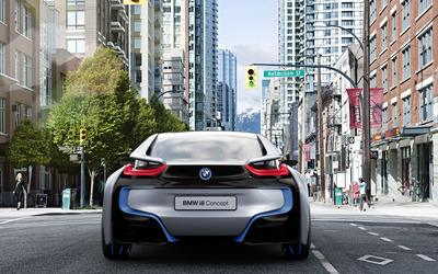 BMW i8 concept on the street wallpaper