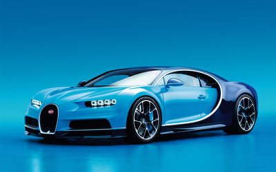 Front side view of a blue Bugatti Chiron wallpaper