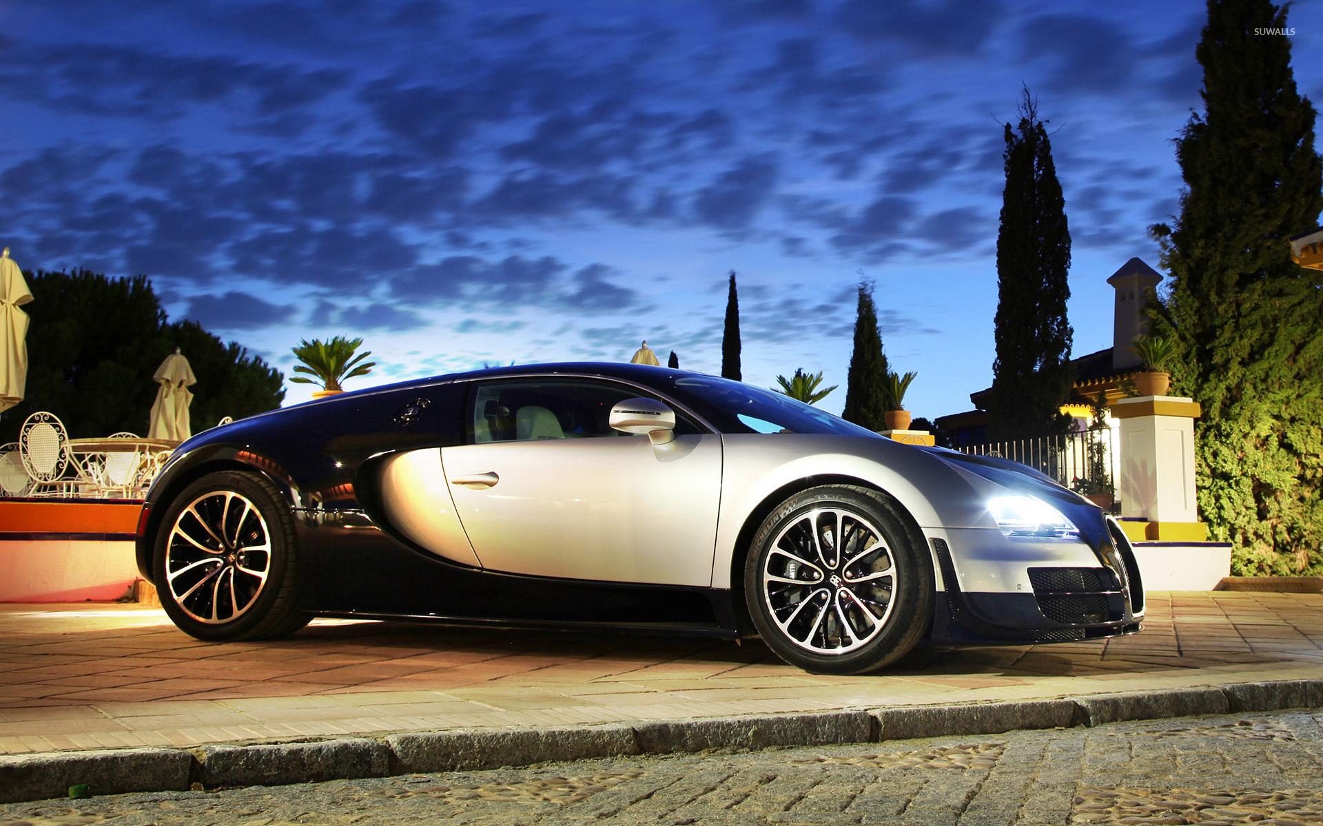 Bugatti Veyron дорога рассвет скачать