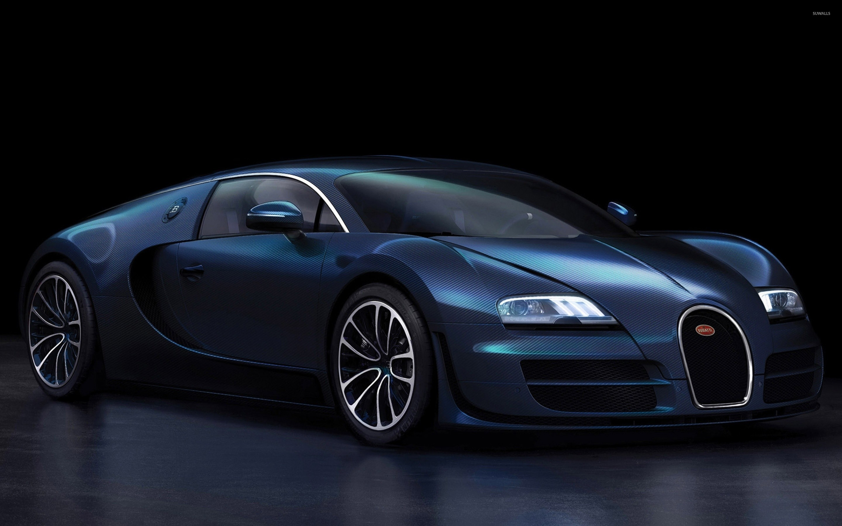 Dark Blue Bugatti Veyron Front Side View Wallpaper Car Wallpapers