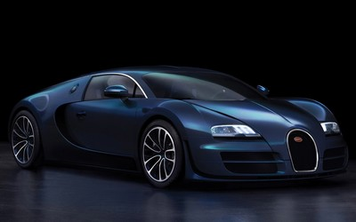 Dark blue Bugatti Veyron front side view wallpaper
