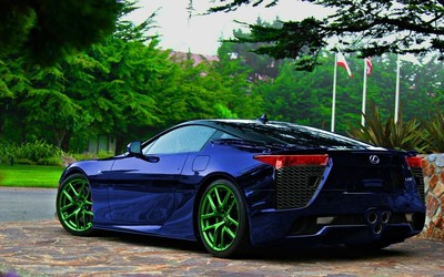 Dark blue Lexus LFA back side view wallpaper