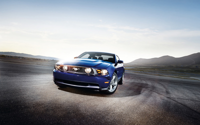 Dark blue Shelby Mustang GT500KR front side view wallpaper