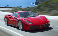 Red Ferrari 488 GTB on the road wallpaper 3840x2160 jpg