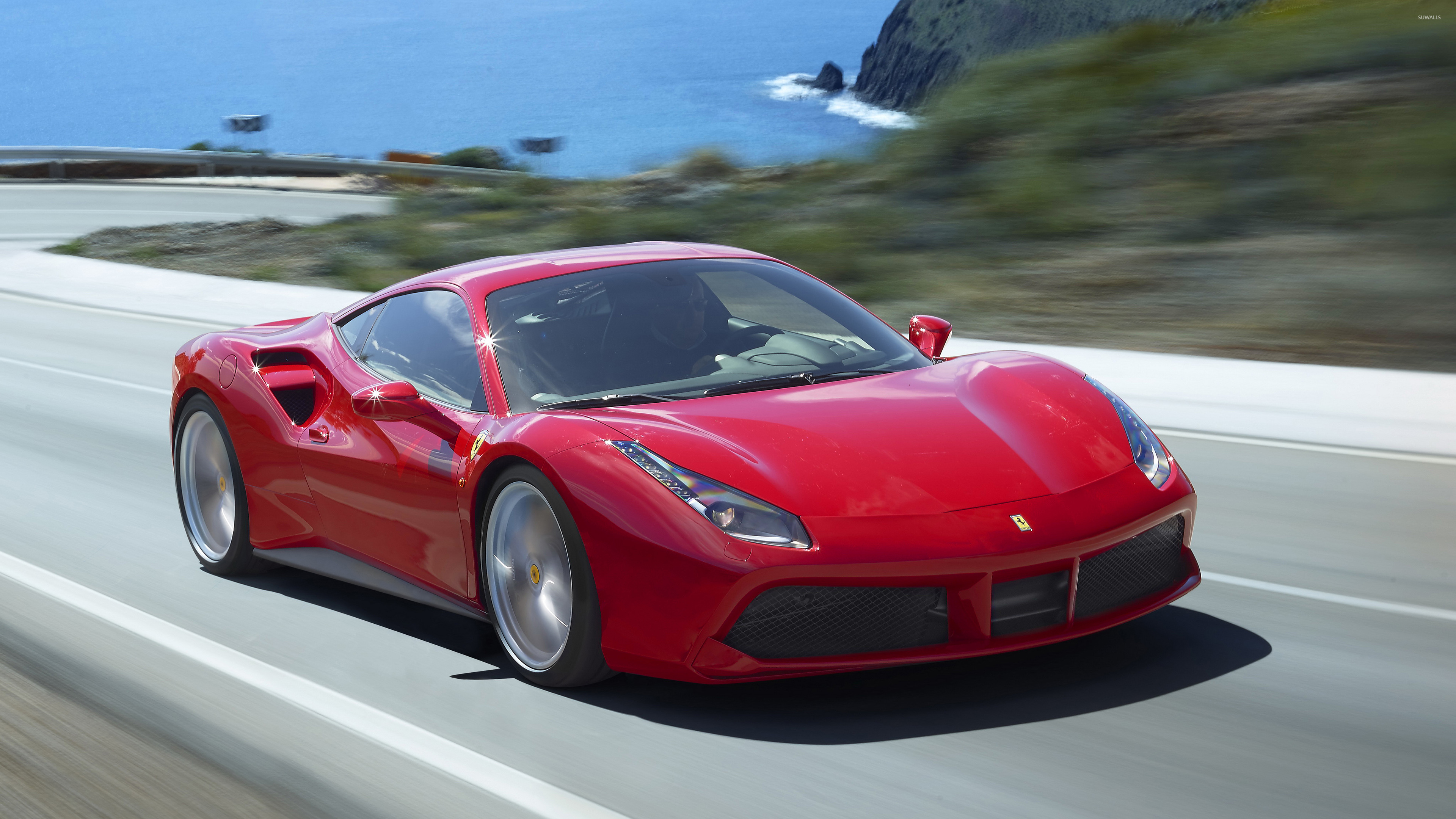 Red Ferrari 488 Gtb On The Road Wallpaper Car Wallpapers 49870