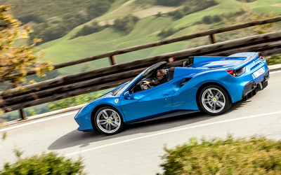 Blue Ferrari 488 Spider on the road wallpaper
