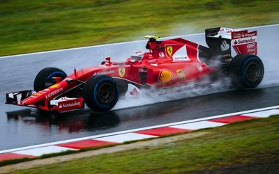 Ferrari SF15 T on wet track wallpaper