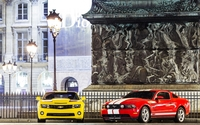 Ford Mustang GT vs. Chevrolet Camaro SS wallpaper 1920x1200 jpg