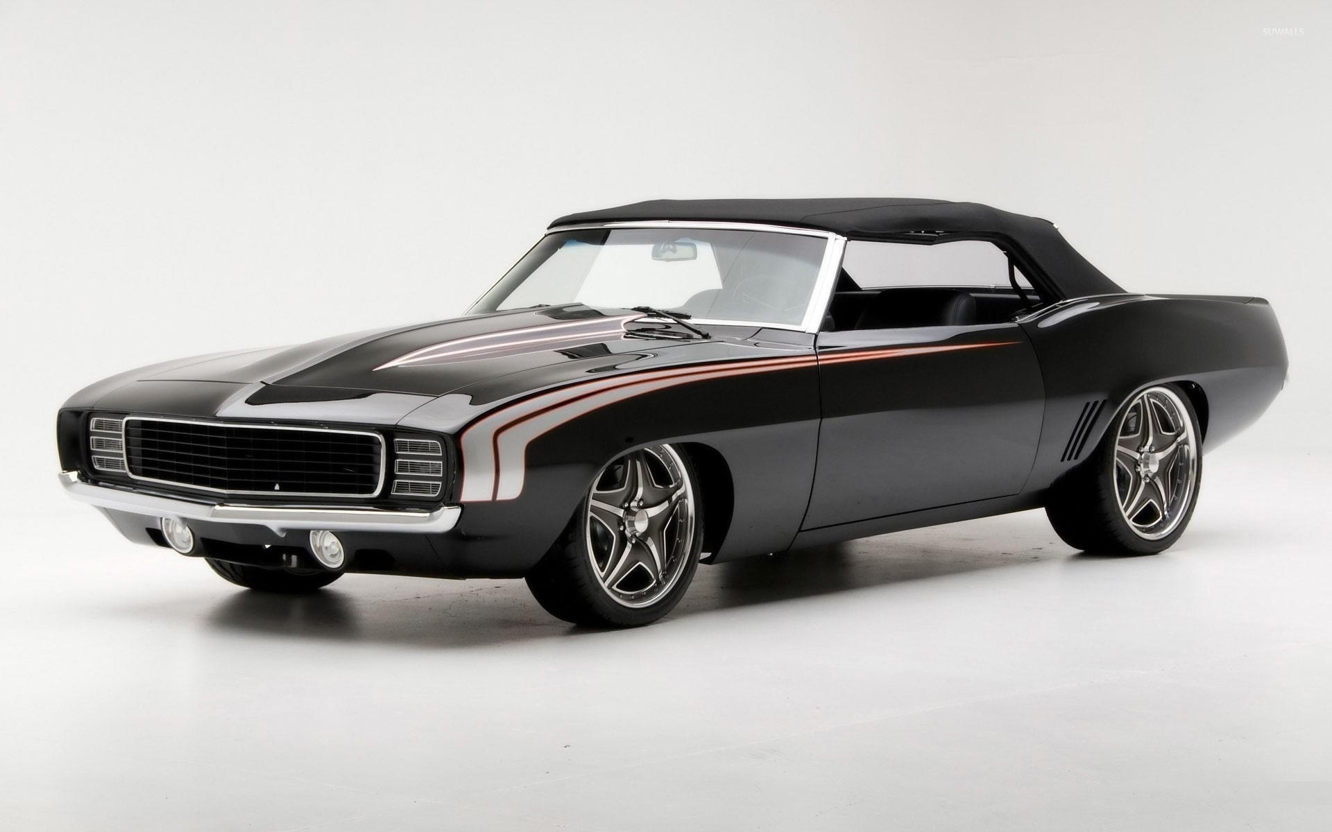 Front Side View Of A Black Muscle Car Wallpaper Car Wallpapers