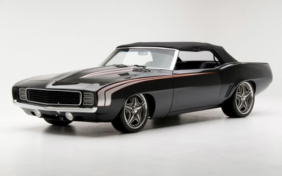 Front side view of a black muscle car wallpaper