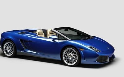 Front side view of a blue Lamborghini Gallardo wallpaper