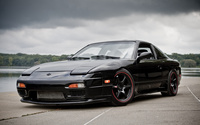 Front side view of a black Nissan 240SX wallpaper 2560x1600 jpg