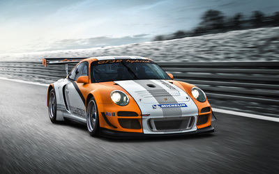 Front side view of a racing Porsche 997 GT3 wallpaper