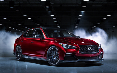 Front side view of a red Infiniti Q50 wallpaper