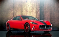 Front side view of a red Maserati GranTurismo wallpaper 1920x1200 jpg
