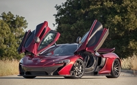 Front side view of a red McLaren P1 with opened door wallpaper 1920x1080 jpg