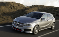 Front side view of a silver Mercedes-Benz A-Class on the road wallpaper 1920x1200 jpg