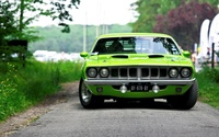 Front view of a green Plymouth Barracuda wallpaper 2560x1600 jpg