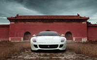 Front view of a white Ferrari 599 GTB Fiorano wallpaper 1920x1200 jpg