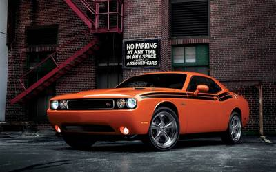Front view of an orange Dodge Challenger RT Classic wallpaper