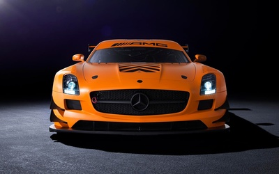 Front view of an orange Mercedes-Benz SLS AMG wallpaper