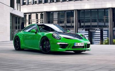 Green Porsche 911 Carrera S front view wallpaper