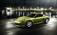 Green Porsche Cayman in the harbor wallpaper 1920x1200 jpg