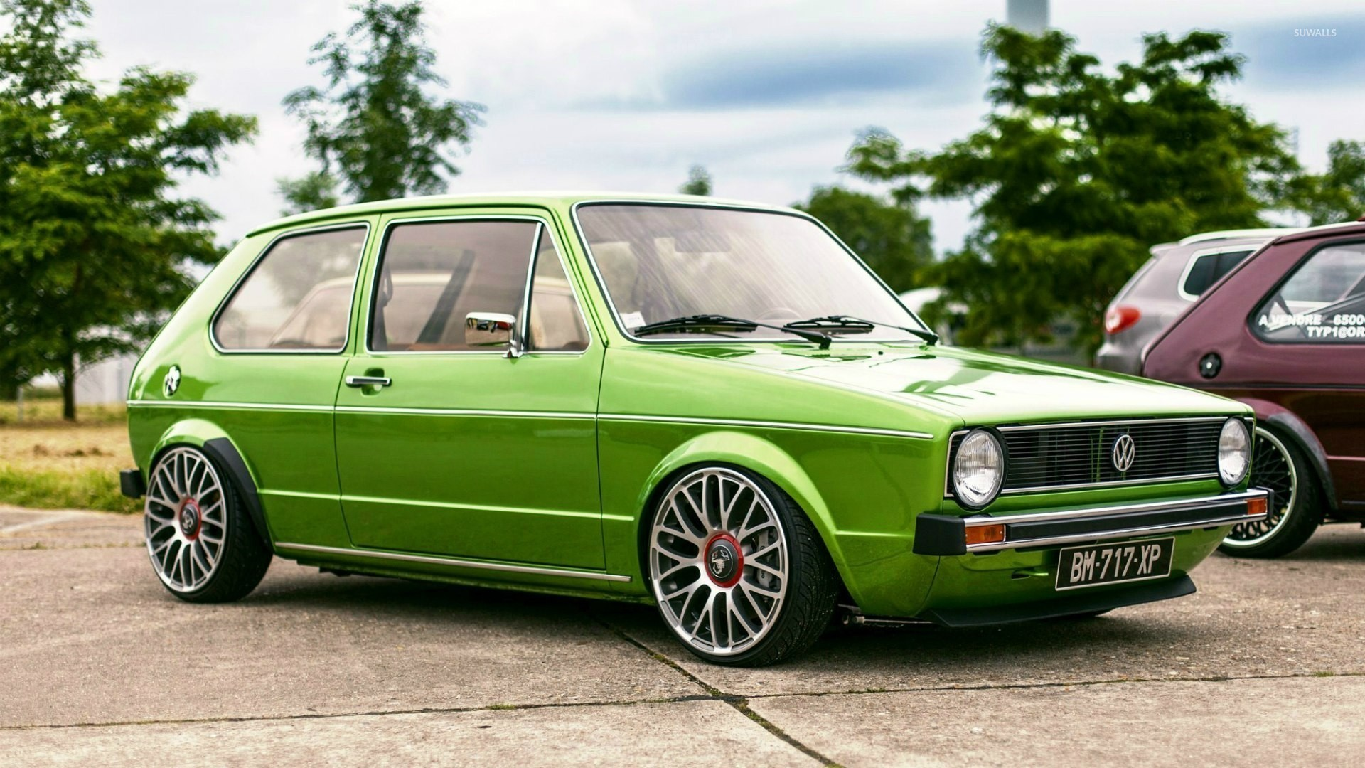 Green Volkswagen Golf Mk1 Side View Wallpaper