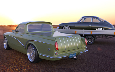 Green Zolland Design Volvo Amazon back side view wallpaper