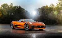 Jaguar C-X75 parked in front of the forest wallpaper 2560x1600 jpg