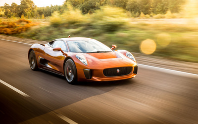 Jaguar C-X75 on the road wallpaper