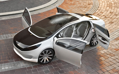 Kia hybrid car with opened doors wallpaper