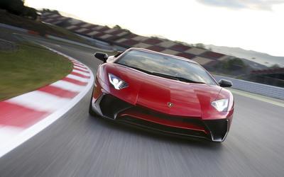 Red Lamborghini Aventador LP750-4 SV on the racing track Wallpaper