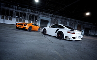 Lamborghini Gallardo and Porsche 911 wallpaper 1920x1200 jpg