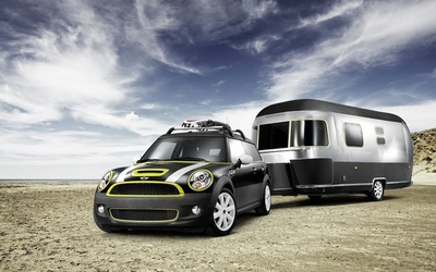 MINI Cooper S Clubman with a Airstream trailer wallpaper