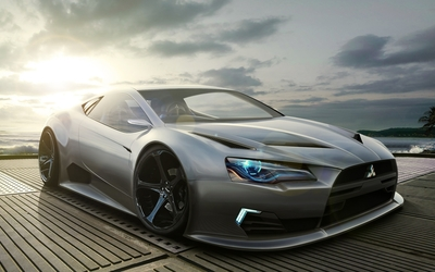 Mitsubishi Eclipse by the ocean Wallpaper