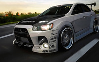 Mitsubishi Lancer Evolution on the road wallpaper 1920x1080 jpg