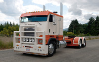 Orange and white Freightliner truck wallpaper 1920x1200 jpg