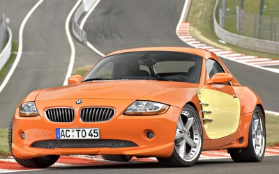Orange BMW Z4 front view wallpaper