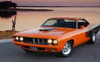 Orange Plymouth Barracuda front side view wallpaper 2560x1440 jpg