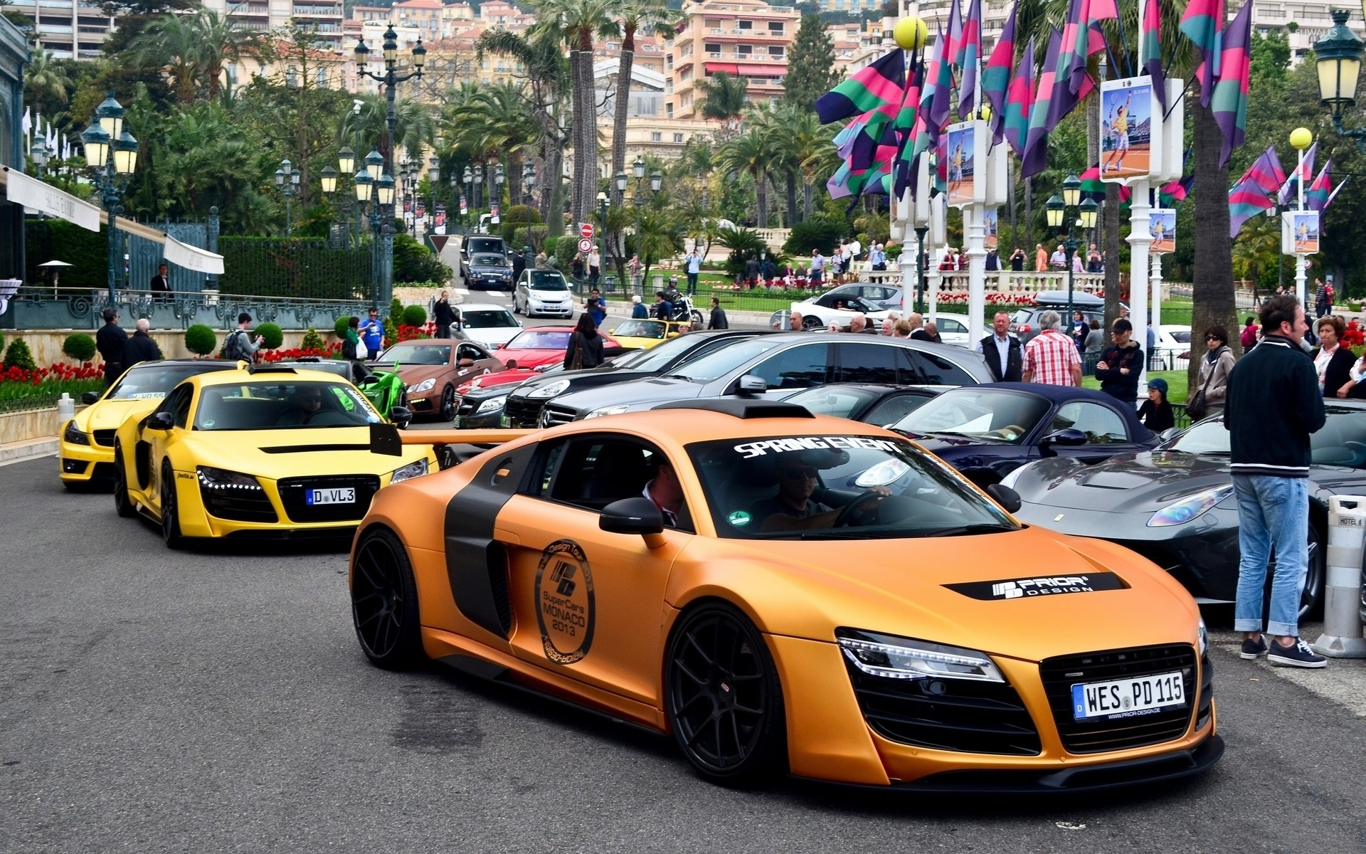 Orange Prior Design Audi R8 Front Side View Wallpaper Car Wallpapers 50861