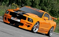 Orange with black stripes Geiger Performance Ford Mustang GT520 wallpaper 1920x1200 jpg