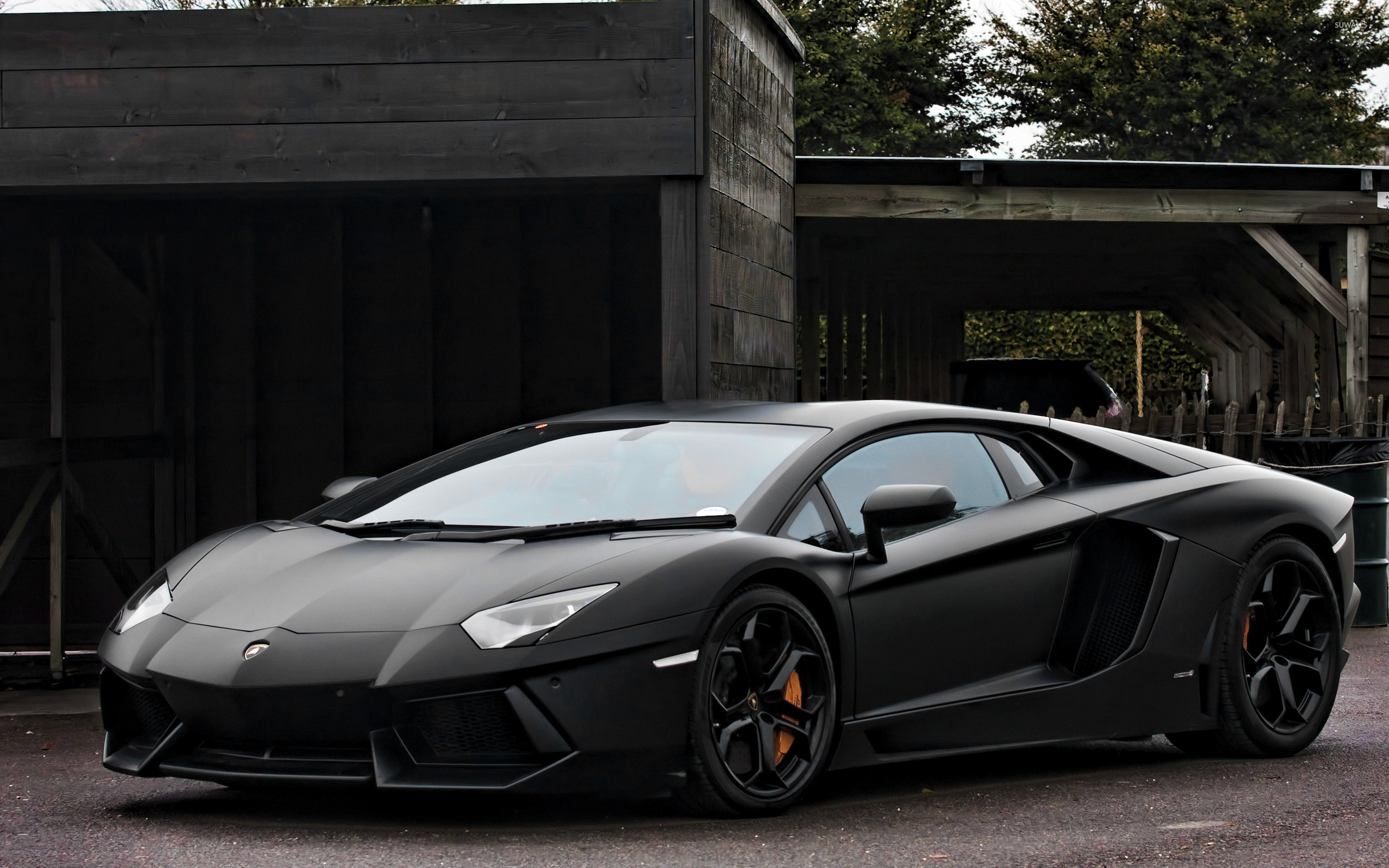 parcked black lamborghini aventador front side view. Black Bedroom Furniture Sets. Home Design Ideas